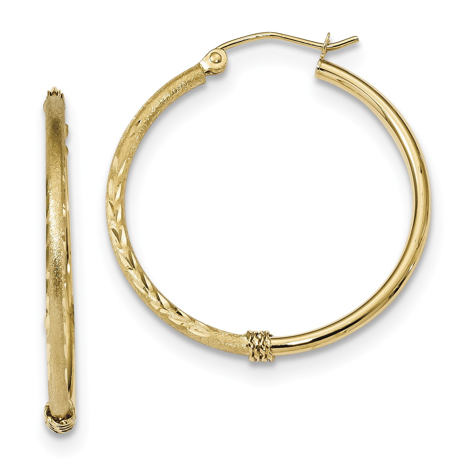 ICE CARATS 14k Yellow Gold Hoop Earrings Ear Hoops Set Fine Jewelry Gift Set For Women Heart
