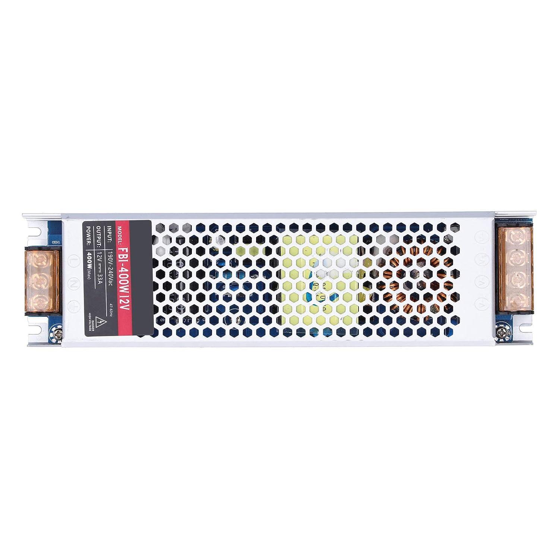 Fuente de alimentación LED de 400W, DC12V / 24V Fuente de alimentación conmutada LED impermeable Transformador de controlador LED para interiores, para bombillas LED, lámparas, etc.(DC12V)