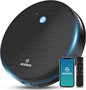 Robot Vacuum, MOOSOO Robotic Vacuum Cleaner, Wi-Fi Connectivity, 1800Pa Suction, Self-Charging, Multiple Cleaning Modes, Best for Pet Hairs, Hard Floor & Medium Carpet