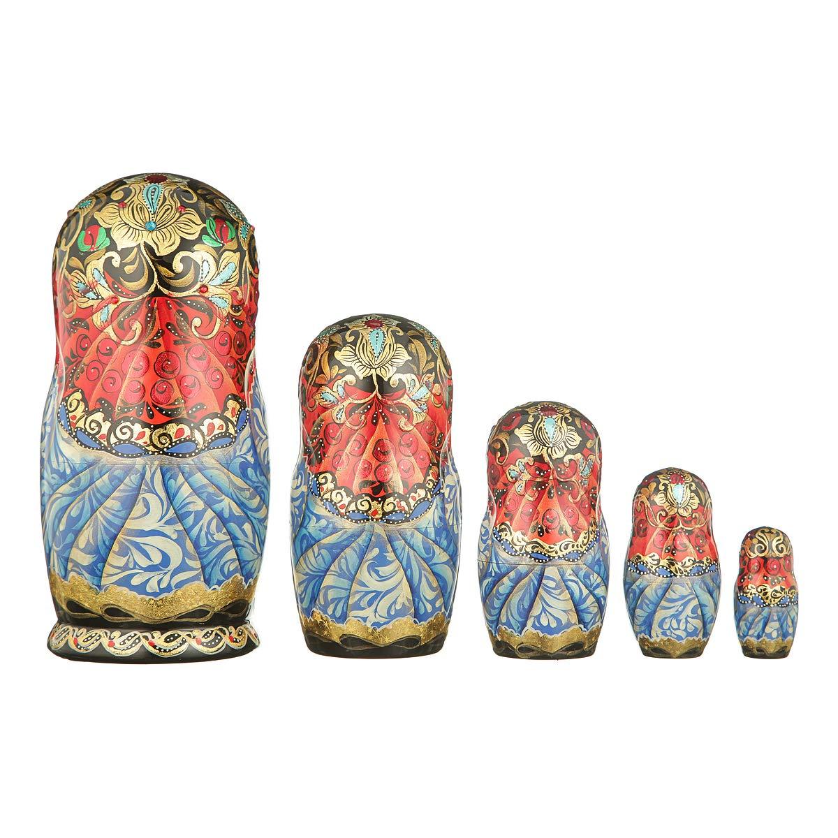 danila-souvenirs Russian Wooden Nesting Dolls Hand Painted Matryoshka 5 pcs Set Winter Troika 7.5'' by danila-souvenirs (Image #2)