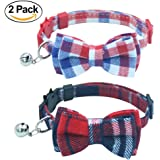 OFPUPPY 2 Pack/Set Cat Collar Breakaway with Bell - Bowtie Style for kitty Adjustable 7.8-10.2