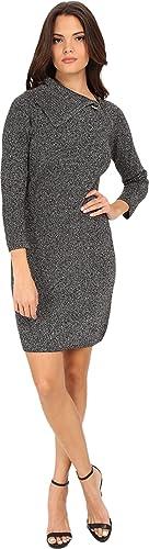 Calvin Klein Womens Metallic Asymmetric Collar Sweaterdress
