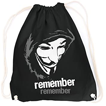 Máscara de Guy Fawkes Remember V como Vendetta Anonymous/TURN FUN Bolsa Diseño aufdruck/