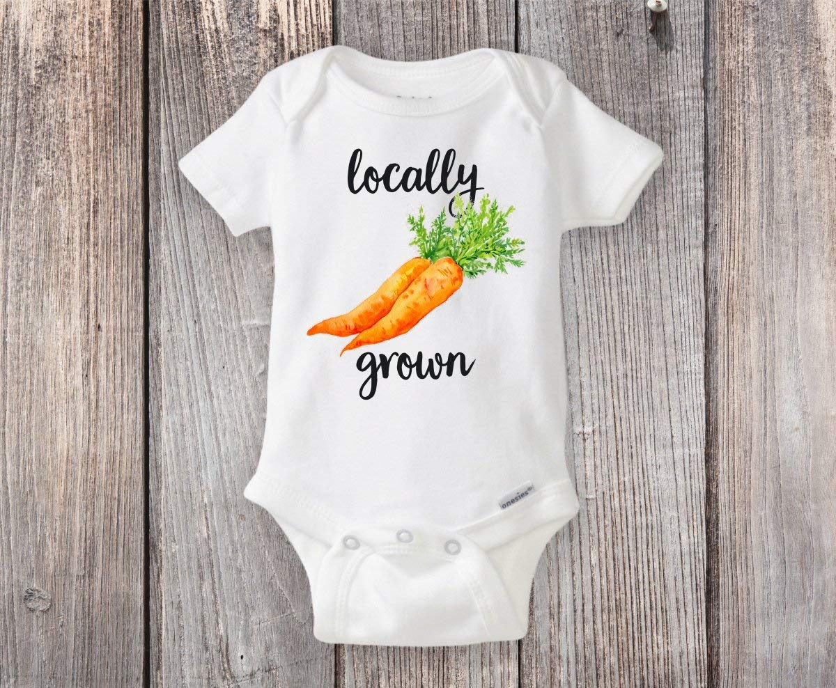 Locally Grown Carrot Onesie® Home Grown Pregnancy Announcement Reveal or Baby Shower Gift - Cute Onesie for the Farmers Market or Earth Day!