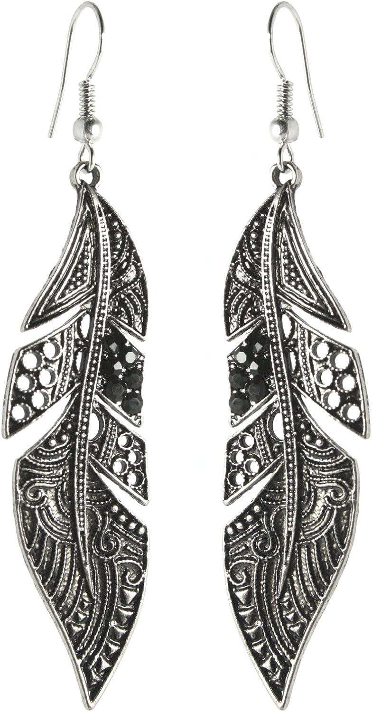 2LIVEfor - Pendientes largos de pluma, color negro, pendientes colgantes de plata, largos con piedras de estilo antiguo, forma de gota, pendientes de plata antigua, plumas negras, alas