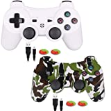 PS3 Controller,Wireless Gaming Controller, PS3 Double Vibration Game Controller with Upgrade Sixaxis and High-Precision Joystick for Playstation 3 (2 Pack) (Color: 2Pack)