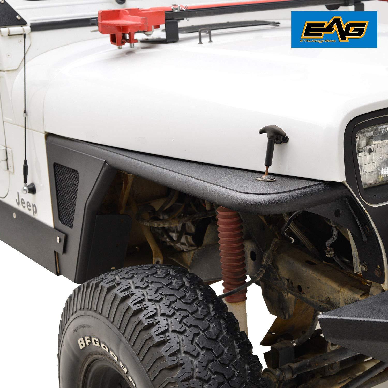EAG Fender Flare Rocker Guard Off Road Front Armor for 87-96 Jeep Wrangler YJ