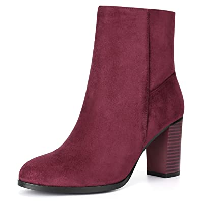 b1946768020 Allegra K Women s Round Toe Block Heel Ankle Booties (Size US 6) Burgundy
