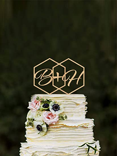 Amazon Com Geometric Wedding Cake Topper Initials Hexagon Modern