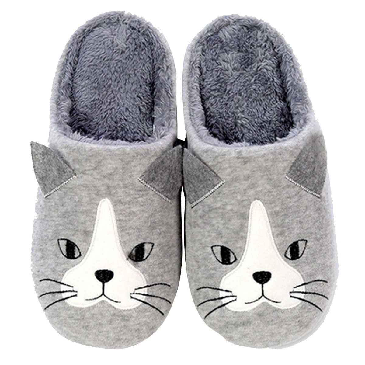 Children Cat Dog Pattern Winter Slippers Anti-Slip Home Slippers Bedroom Shoes(Light Grey, 2XS)