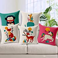 "Kridhay Natura Life Set of 5 Multi Colored Decorative Hand Made Cotton Cushion Covers 16"" x 16"" (40cm x 40cm)"