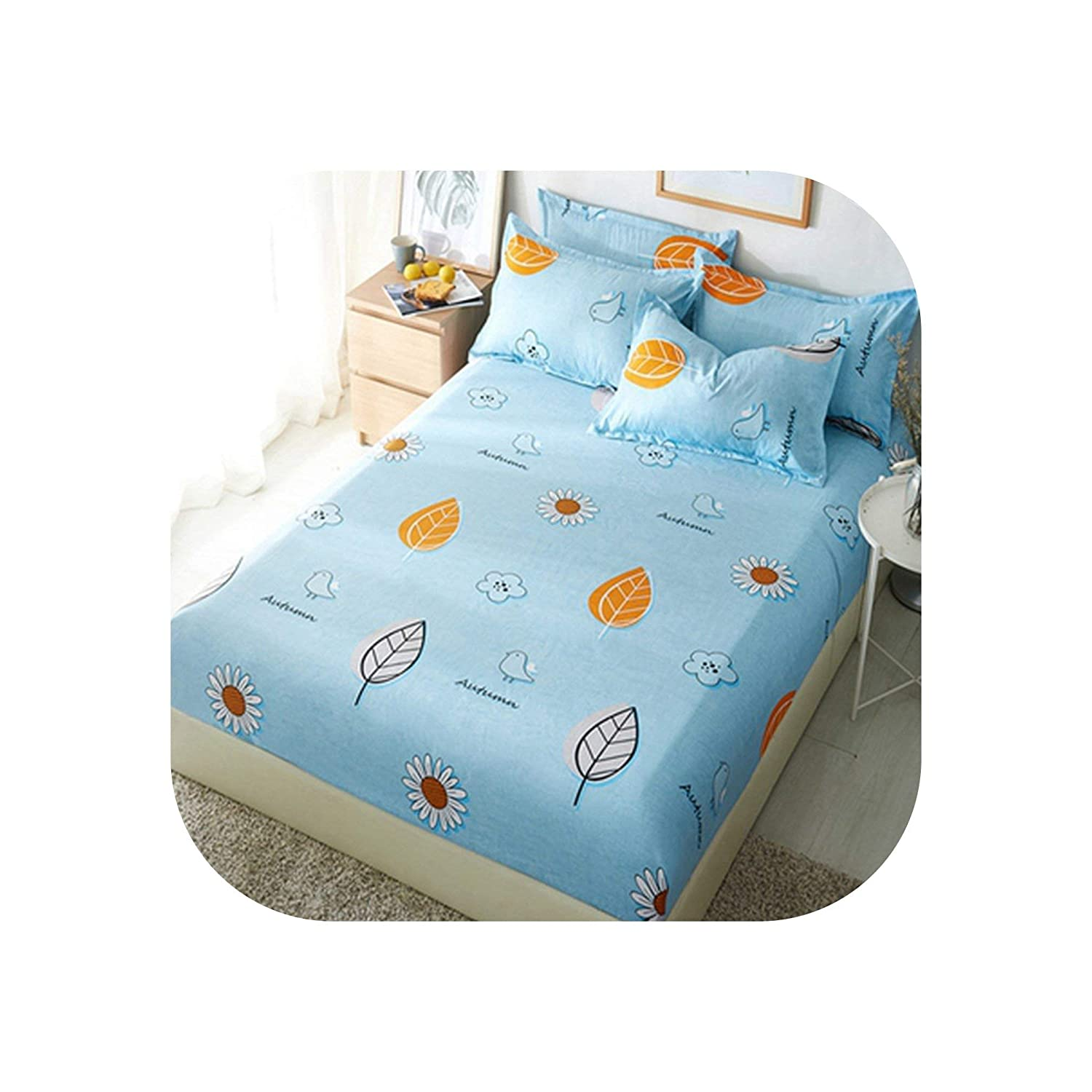 1pcs Polyester White Yellow Leaves Printed Bed Sheet Bedding Fitted Sheets Mattress Cover Bedspreads with Elastic Band Bedsheet,Fitted Sheet1,Pillowcase 2pcs