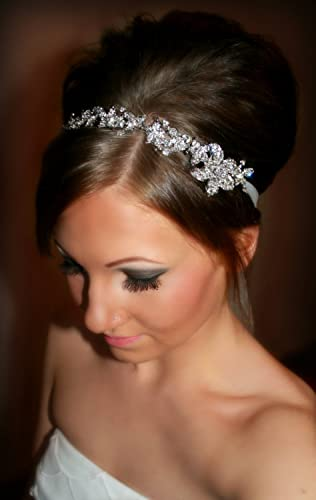 Amazon.com: Bridal Headband, Bridal Head Piece, SHAY, Rhinestone ...