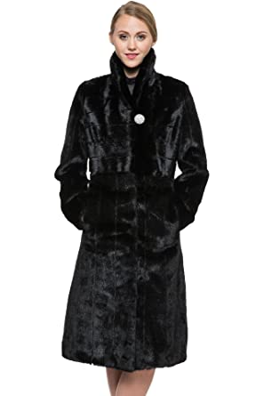 Ovonzo Women's Fit and Flare Cozy Faux Mink Fur Coat Black at ...
