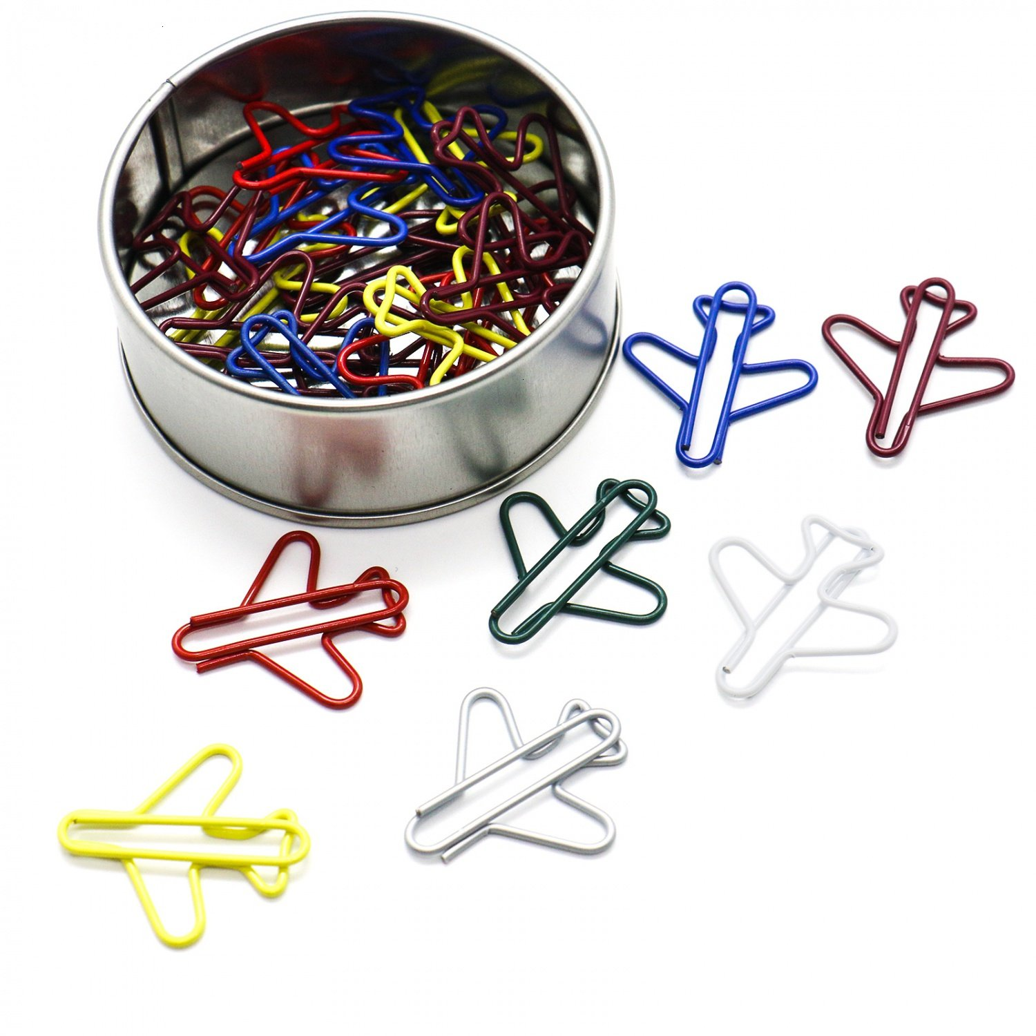 IDS Pack of 48 Cute Airplane Shape Paper Clips Card File Clips Clamps for Bookmark Office School Notebook Decoration