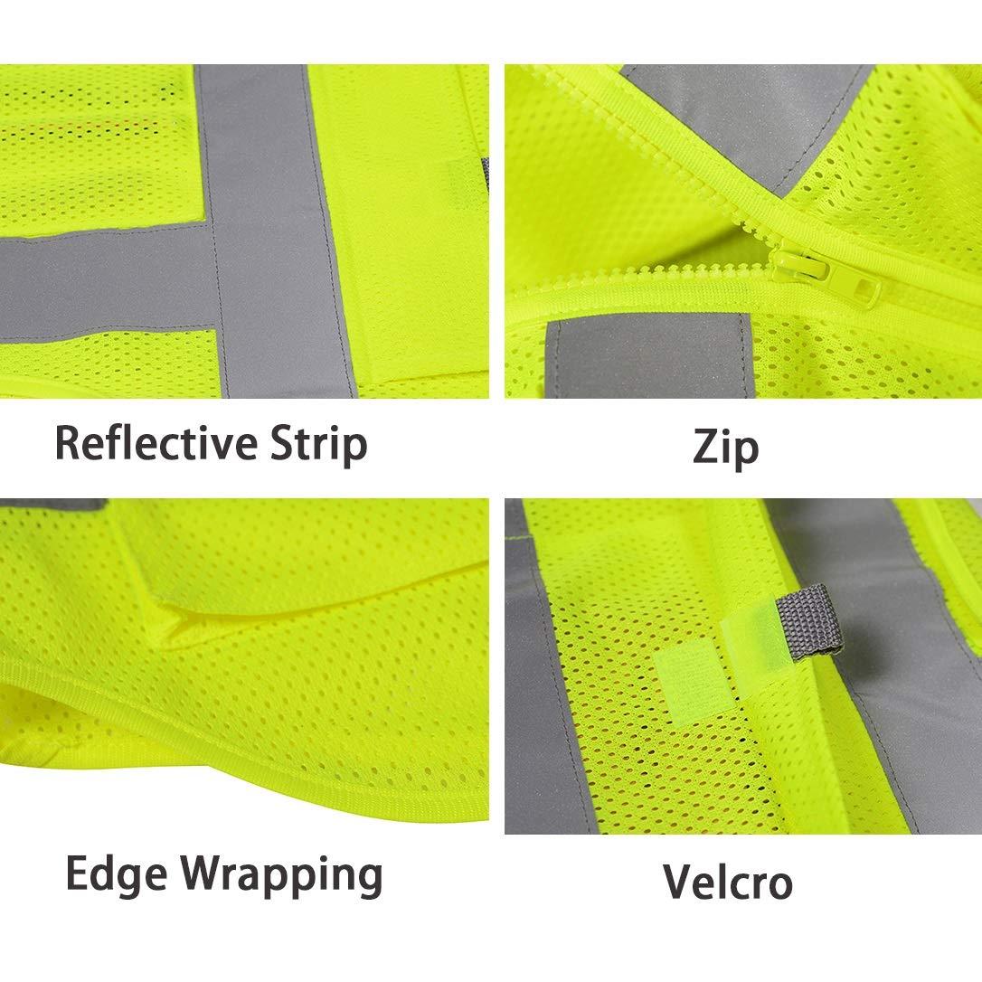 Gelb und Blau XL HSNMEY Unisex Sicherheitsweste reflektierend EN 20471 Signalweste hohe Sichtbarkeit aus Netz mit Taschen f/ür Motorrad