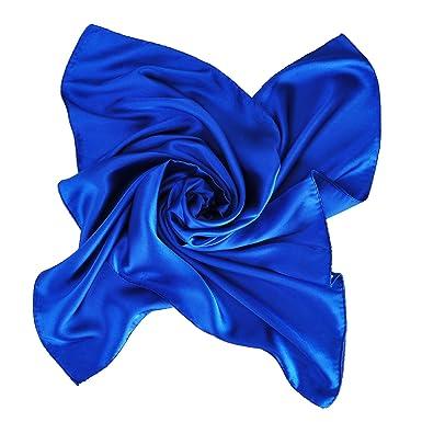 Image Unavailable. Image not available for. Colour  Satin Neck Square  Scarves Neckerchief Plain Navy Blue Color 590c74009