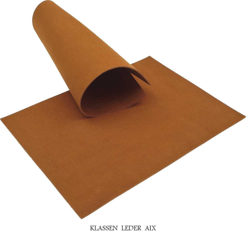 Rindsleder Cognac 2,6 mm Dick A5 Format Velour Braun Echt Leder 59