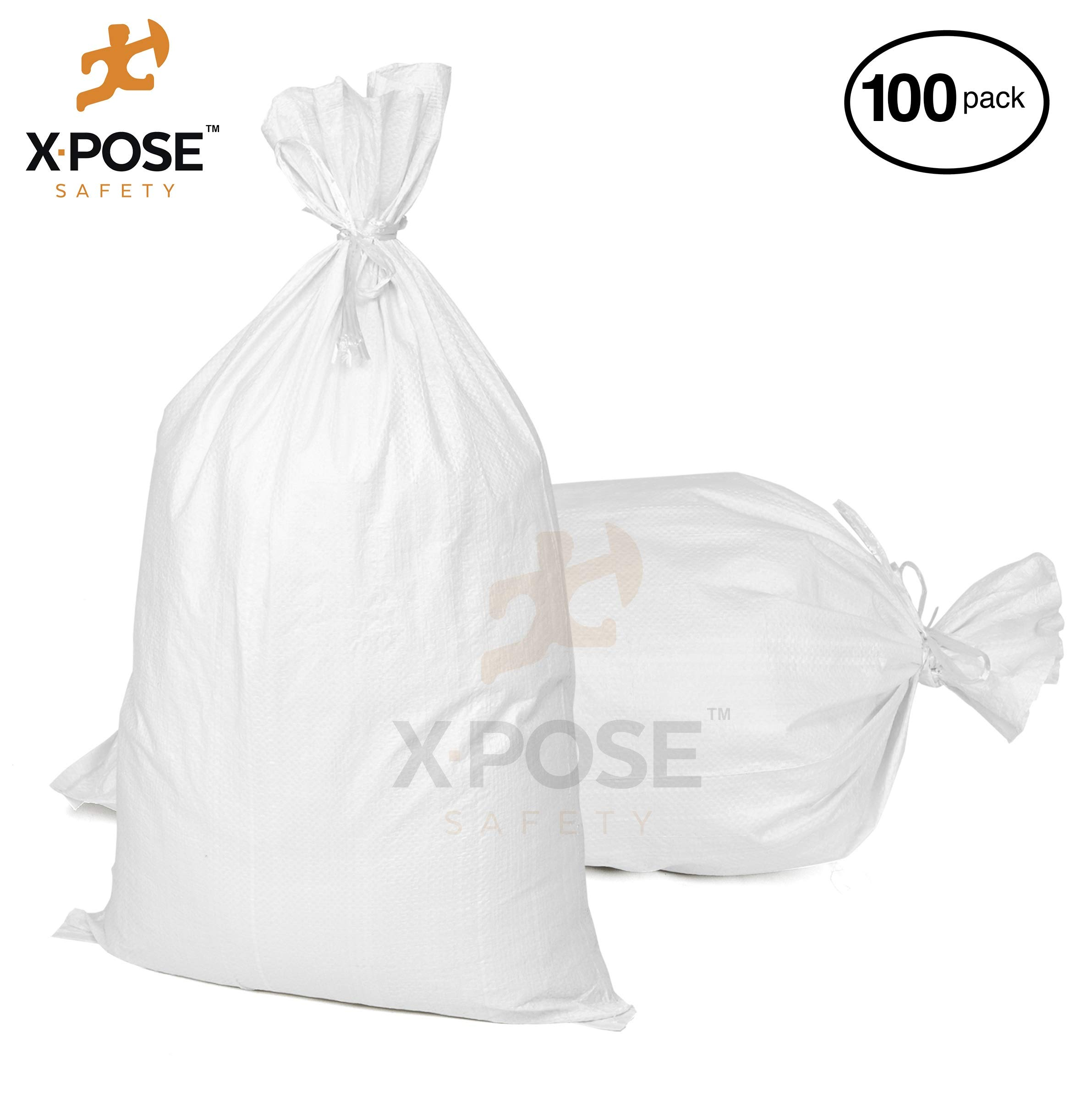 """17""""x27"""" Empty Sand Bags, 100 Pack with Ties – Heavy Duty Woven Polypropylene, UV Sun Protection, Dust, Water and Oil Resistant - Home and Industrial - Floods, Photography and More - by Xpose Safety"""