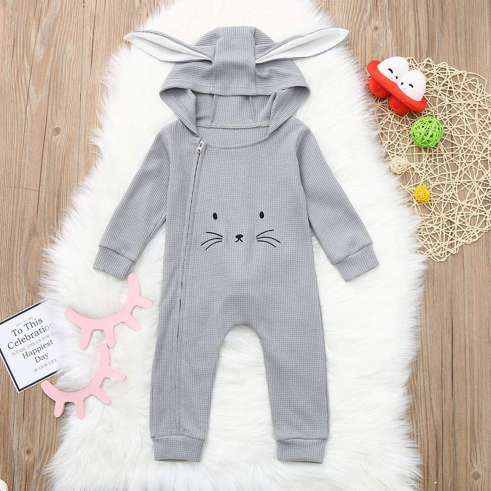 Newborn Baby Boys Girls 3-24 Months Cartoon 3D Ear Hooded Romper Jumpsuit Clothes Outfit