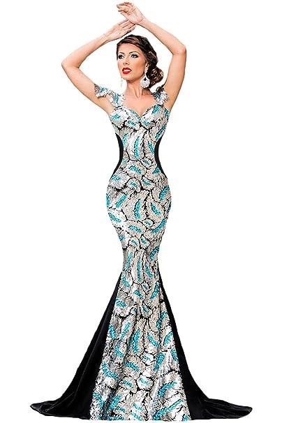 reputable site f0e3c 6d5bf COSIVIA Donna Argento Paillettes Sirena Elegante lungo Abito da Sera con  Fiocco