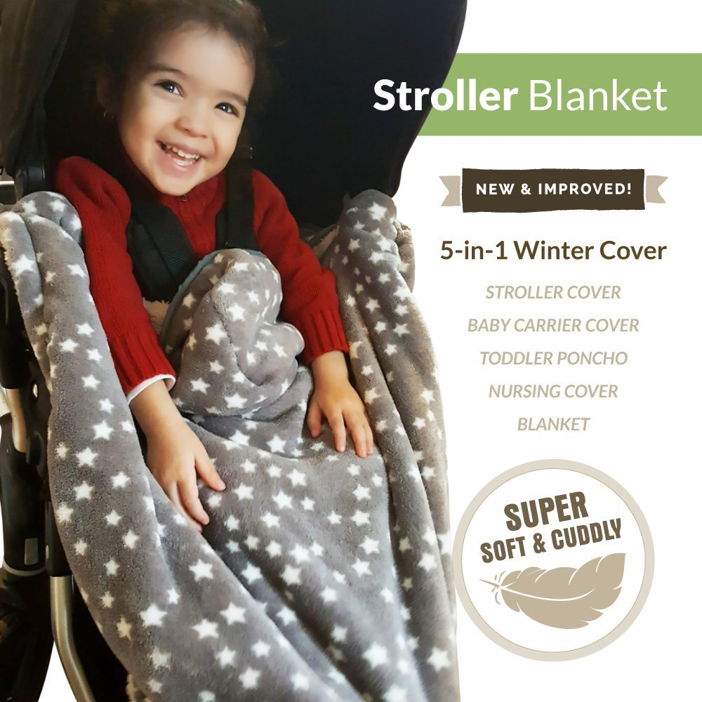 Lucky Baby Double Fleece Adjustable 5-in-1 Baby Carrier Cover with Hoodie, Gray Skies Kurumi Ket