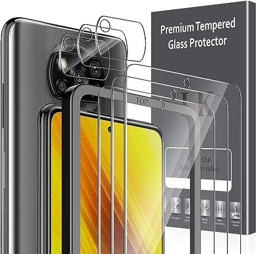 LK Compatible con Xiaomi Poco X3 NFC Protector de Pantalla,3 Pack Cristal Templado y 3 Pack Protector de Lente de cámara, Doble protección