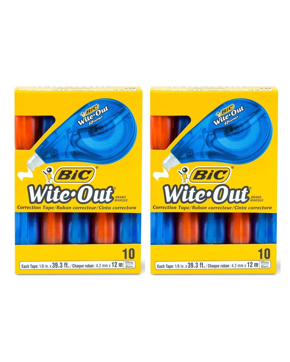 BIC Wite-Out Brand EZ Correct Correction Tape, White, 10-Count 2 Boxes