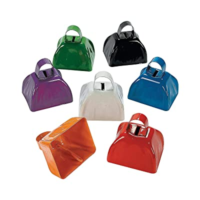 Fun Express - Assorted School Color Cowbells - Toys - Noisemakers - Spirit Noisemakers - 12 Pieces: Toys & Games