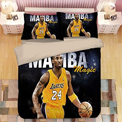 HEC 3D Kobe Bean Bryant Duvet Cover Printed Superstar Bedding Sets Soft Microfiber Kids Teenagers Adult Boys Bed Set,3pcs 1 Duvet Cover 2 Pillowcas(No Comforter), Queen: Home & Kitchen