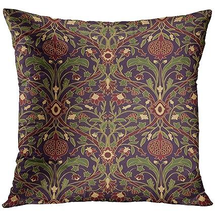 Amazon Com Throw Pillow Cover Green Dark Floral Rich European Of