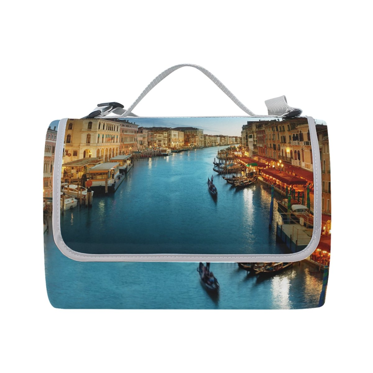 ALAZA City Sunset Venice Italy Outdoor Picnic Blanket Beach Handy Mat for Travel, Camping, Hiking and Music Festival 56x58 inch