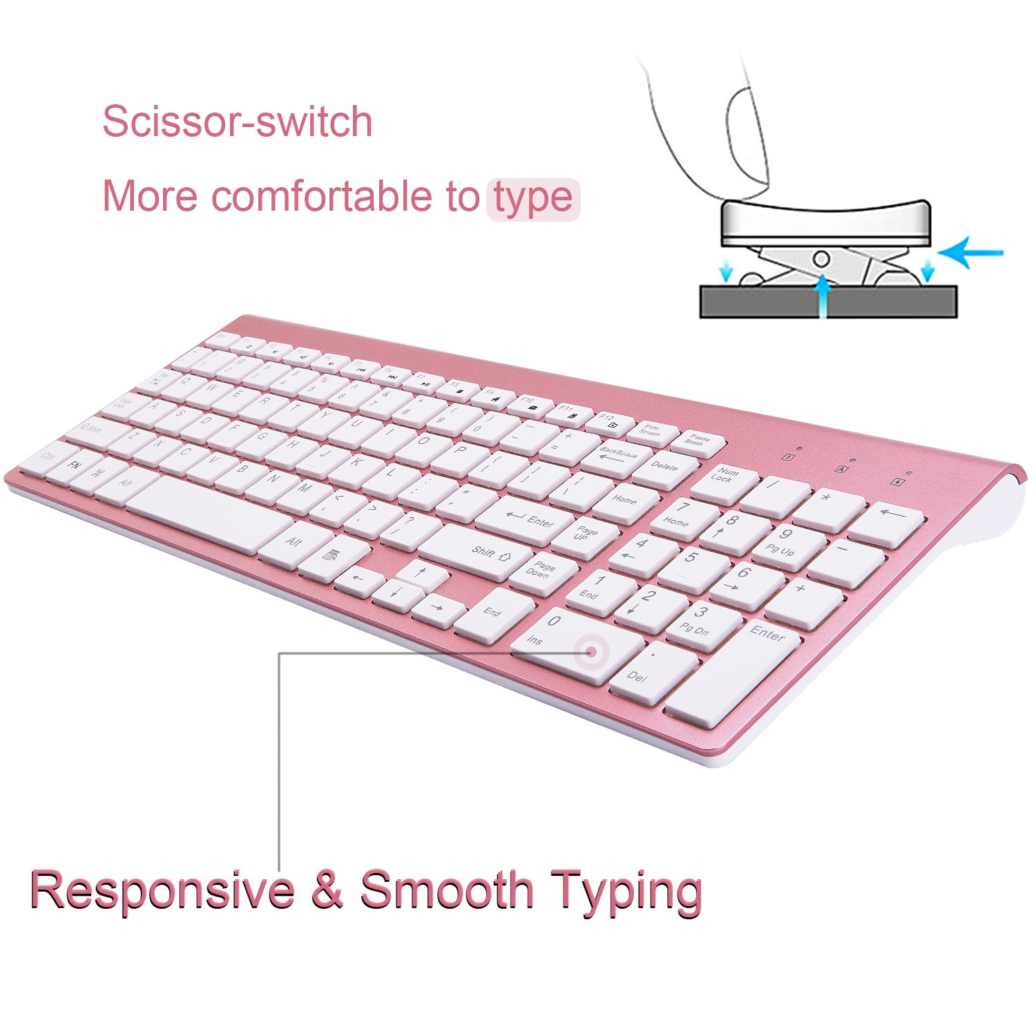 Wireless Keyboard and Mouse Combo,2.4GHz Ultra Slim Full Size Whispe-Quiet Compact for Laptop Notebook PC Computer Windows OS Android Rosy Gold