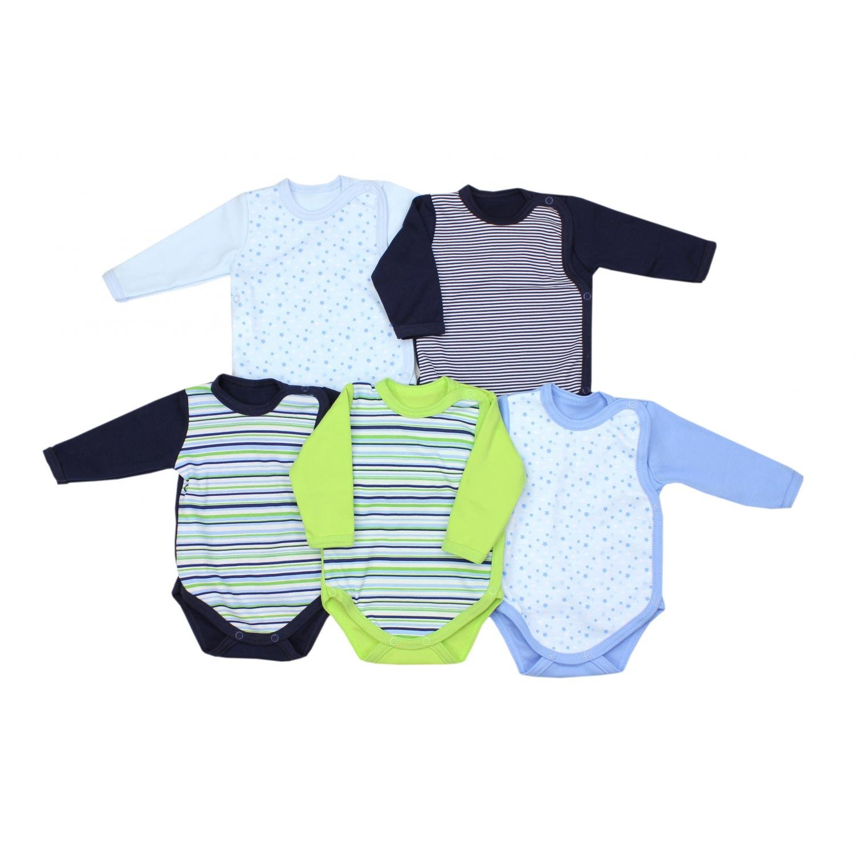 TupTam Baby Unisex Langarm Wickelbody mit Print 5er Pack