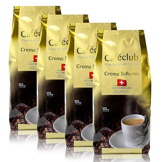 4x Beans Cafeclub super crema Suiza Schümli Café 1kg Cafeteras