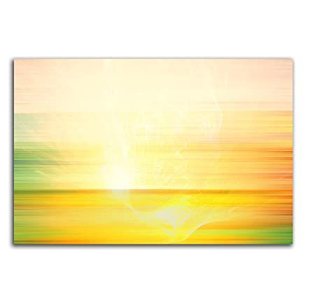 Sunshine Yellow Lightning Bolt Abstract Canvas Art Print Box Framed ...