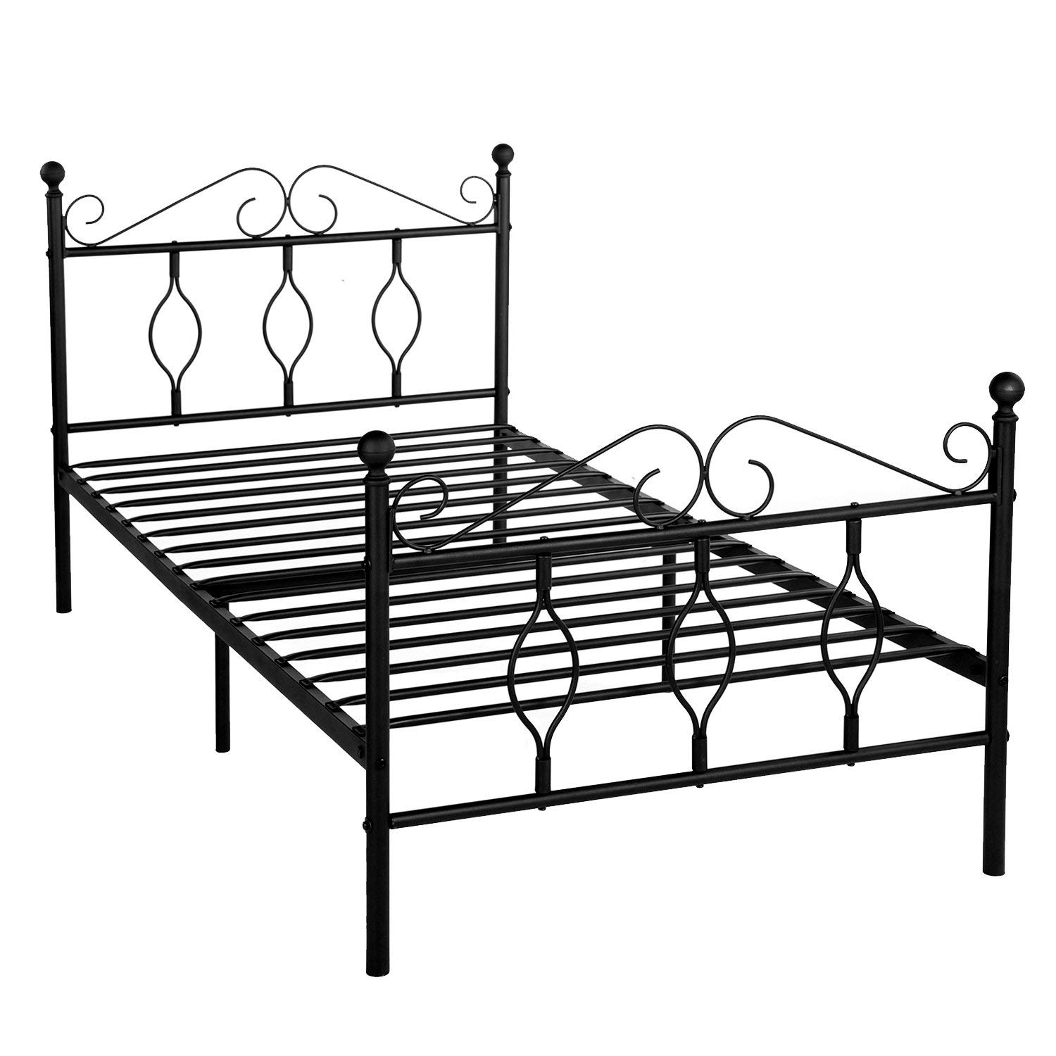 GreenForest Twin Size Bed Frame Mattress Foundation Metal Platform Complete Bed with Headboard and Footboard No Box Spring Needed for Kids Adult, Black by GreenForest