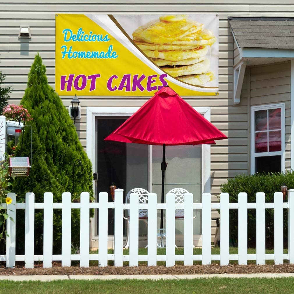 32inx80in 6 Grommets Vinyl Banner Sign Delicious Homemade Hot Cakes Outdoor Marketing Advertising Yellow Set of 2 Multiple Sizes Available