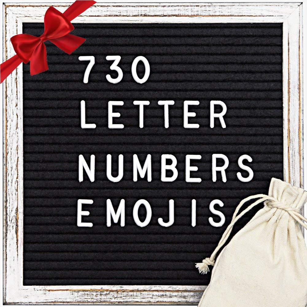 Black Felt Letter Board (10x10) - Maxtek Stand Message Board Wood Vintage Frame Letter Sign Letterboard with 730 Letters, Numbers, Emojis by maxtek