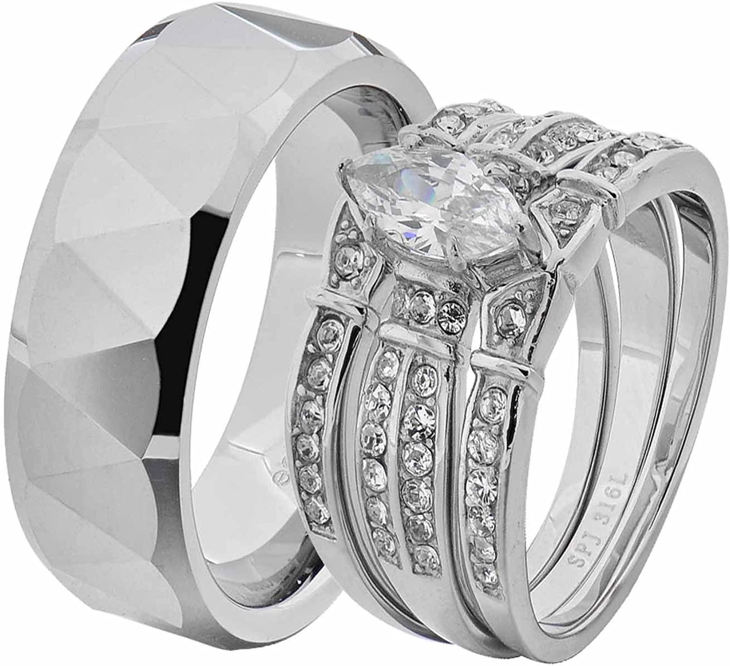 AMDXD Stainless Steel Promise Ring Solitaire Zirconia Heart Engraved Silver Wedding Rings