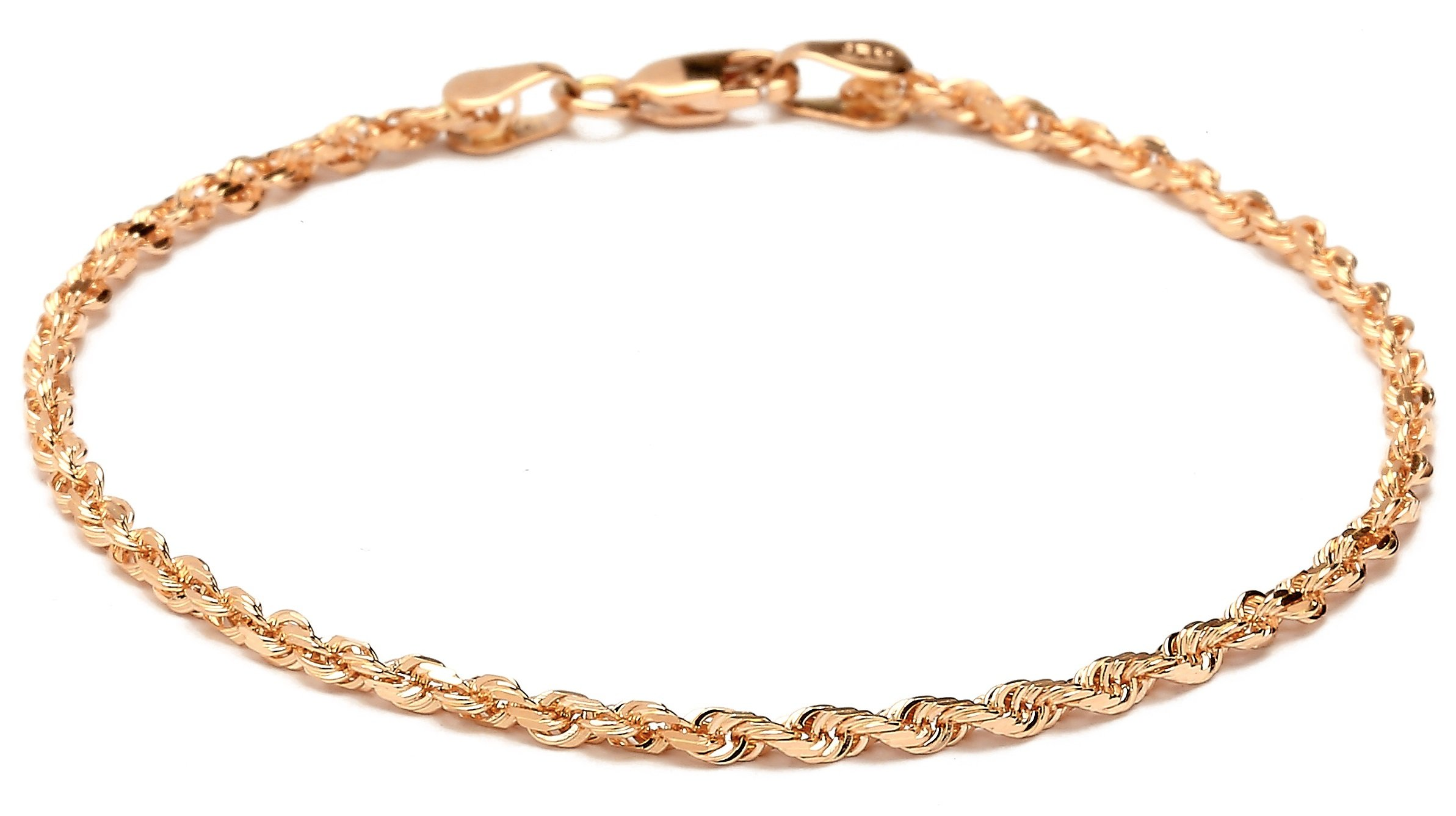 Floreo 9 Inch 10k Rose Pink Gold Solid Diamond Cut Rope Chain Ankle Bracelet Anklet for Women and Girls (0.1'')