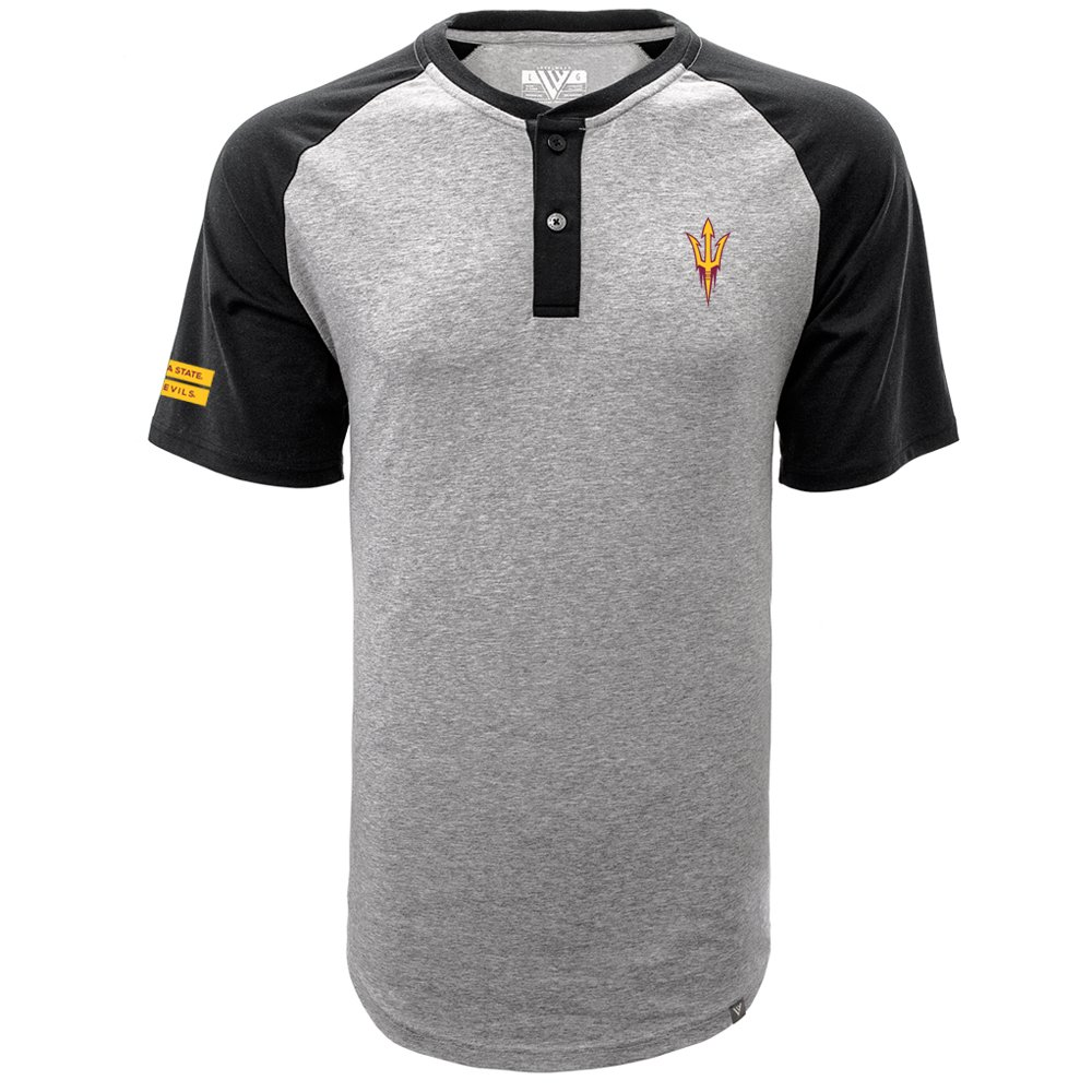 Levelwear LEY9R NCAA Arizona State Sun Devils Men's Chief Corporal Short Sleeve Henley Shirt, Small, Heather Pebble/Black