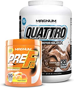 Magnum Nutraceuticals Premium Workout Stack | 4lbs Quattro Chocolate Love Protein & Pre Fo Peach Candy Concentrated Pre Workout