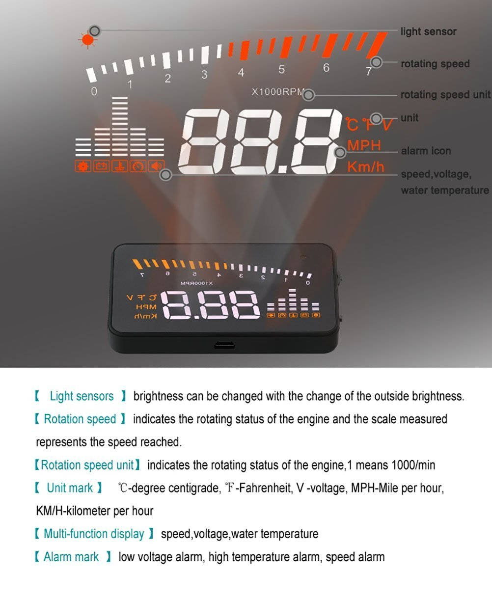 Arpenkin X5 Hud 3 Universal Multi Function Vehicle Obd2 Wiring Diagram For G35 Mounted Heads Up Display Cars Windshield Compatible With Obd Ii Eobd System Model