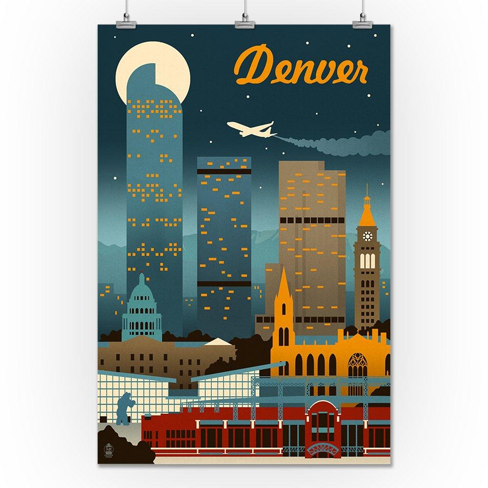 Amazon.com: Denver, Colorado - Retro Skyline (12x18 Art Print, Wall ...