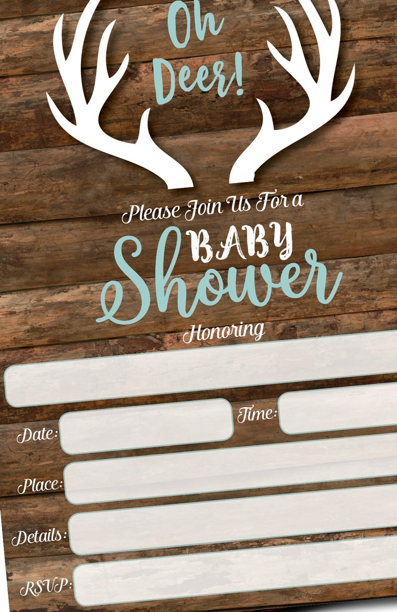 25 Oh Deer Invitations and Envelopes (Large Size 5x7) - Baby Shower Invitations Hunting, Camping, Camo, Buck, Rustic, Neutral, Woodland Baby Shower Invites for Boy, Baby Invitation Cards (25 Count)