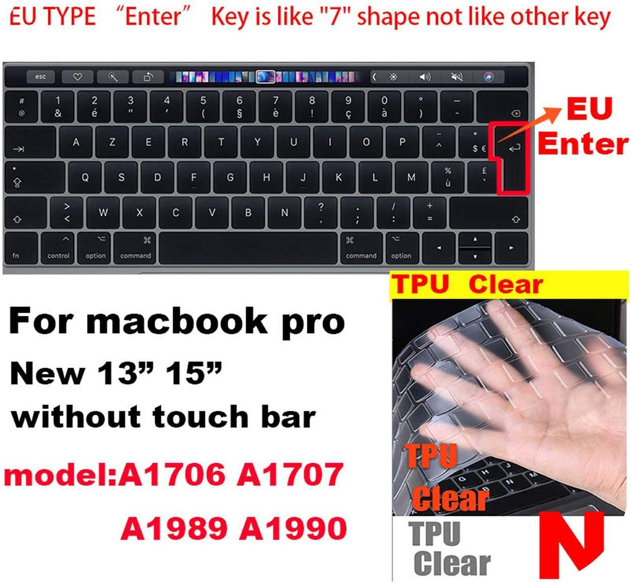 for MacBook Air Pro Retina EU//Us Version for A1466//1502//1398//1534//1990 Keyboard Cover Case Silica Gel TPU Clear Protecter Film-F