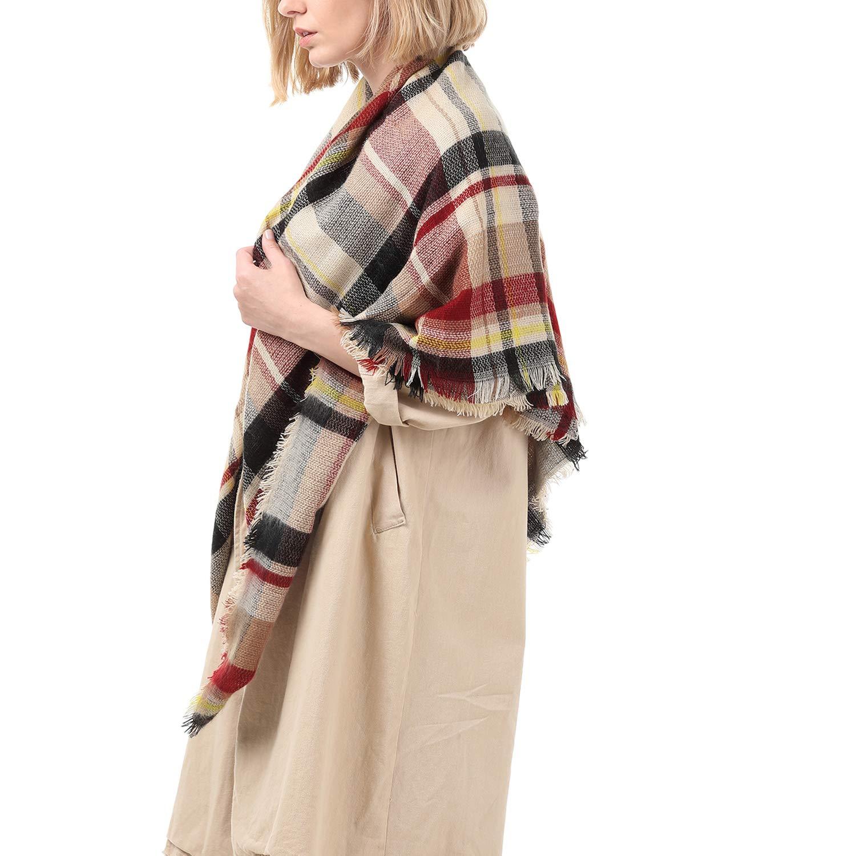 Zando Fall Stylish Warm Cape Women Chunky Blanket Scarf Soft Oversized Scarf Shawl Wrap Plaid Blanket with Tassels