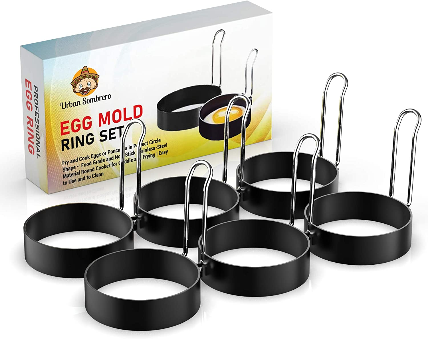 Egg Mold Ring Set (6 Pack) – Fry and Cook Eggs or Pancakes in Perfect Circle Shape – Food Grade, Non-Stick Stainless-Steel Material Round Cooker for Griddle and Frying Pan   Easy to Use and to Clean