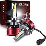 TURBO SII Super Bright 2PCS LED Headlight Bulbs Conversion Kits 9003/H4/HB2 Vision - Waterproof 12000lm 6500K Cool White- 1 Y